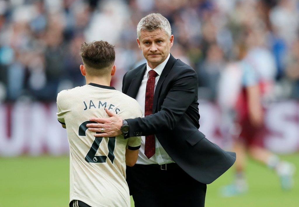 Manchester United's Daniel James and manager Ole Gunnar Solskjaer after the match.