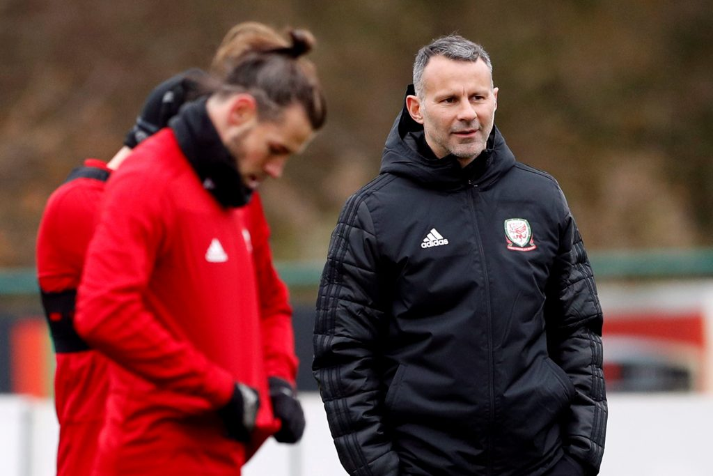 Wales manager Ryan Giggs and Gareth Bale during training.