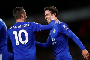 Leicester City's Ben Chilwell celebrates scoring their first goal with James Maddison.
