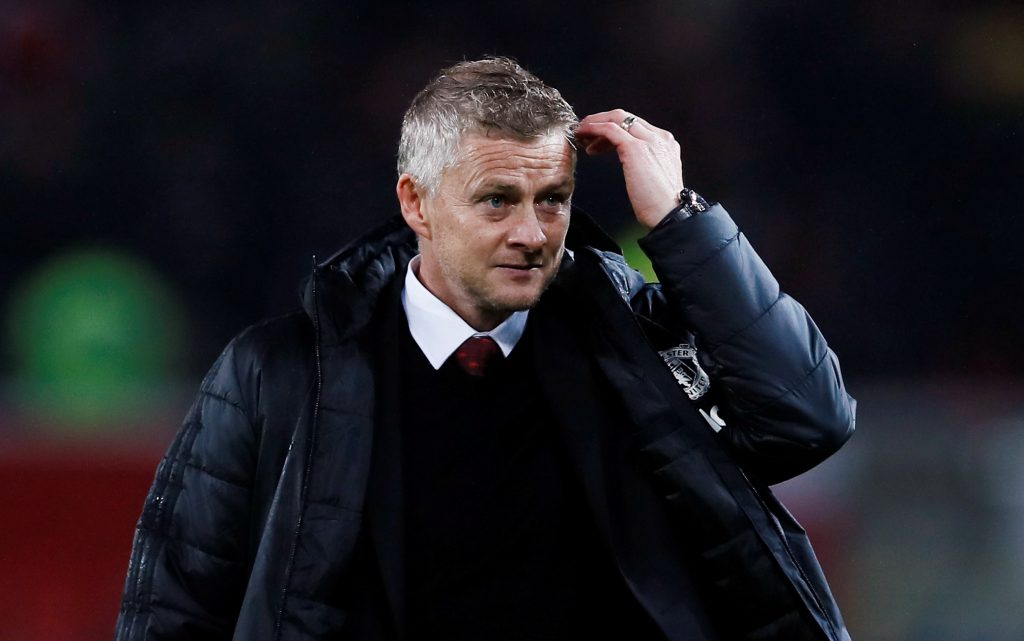 Manchester United manager Ole Gunnar Solskjaer reacts at the end of the match.