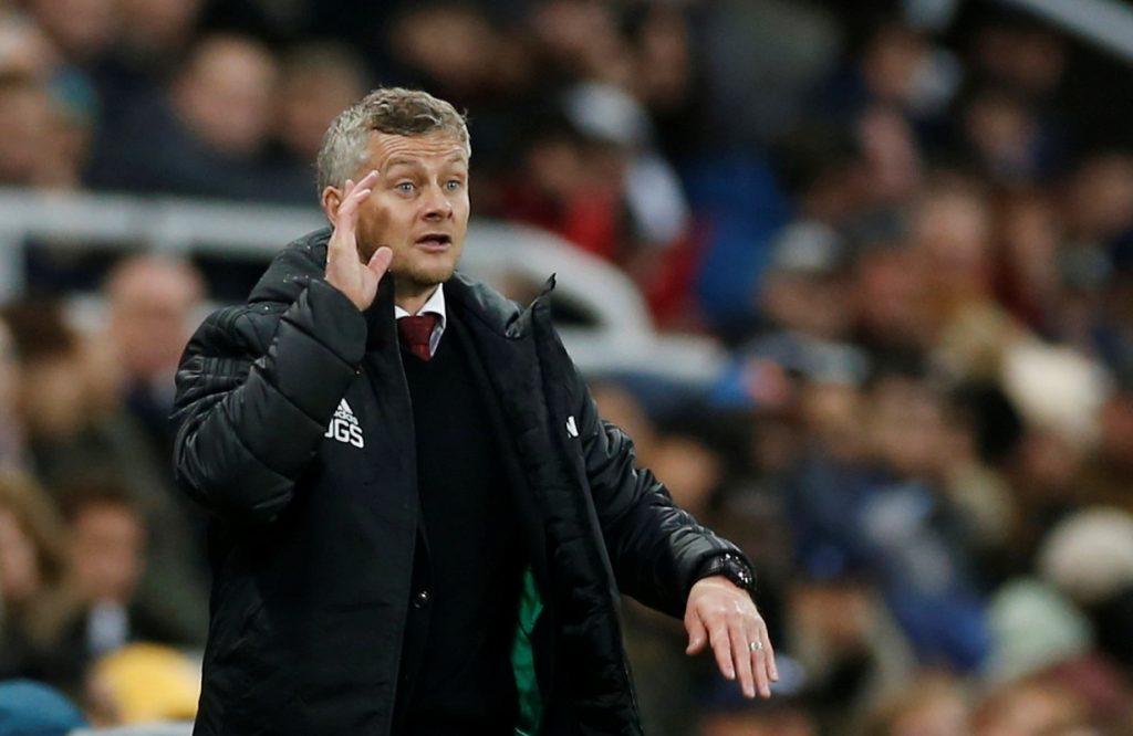 Manchester United manager Ole Gunnar Solskjaer reacts.