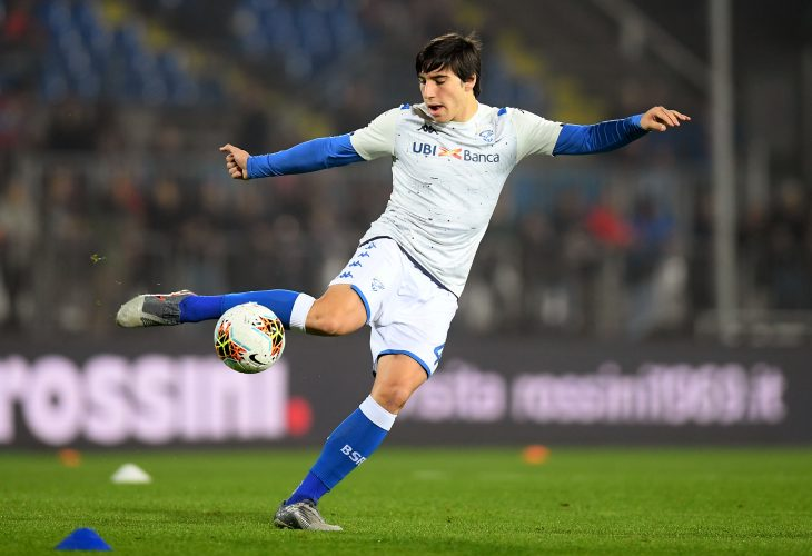 Brescia's Sandro Tonali during the warm up before the match.