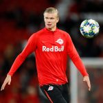 Salzburg's Erling Braut Haaland during the warm up before the match.