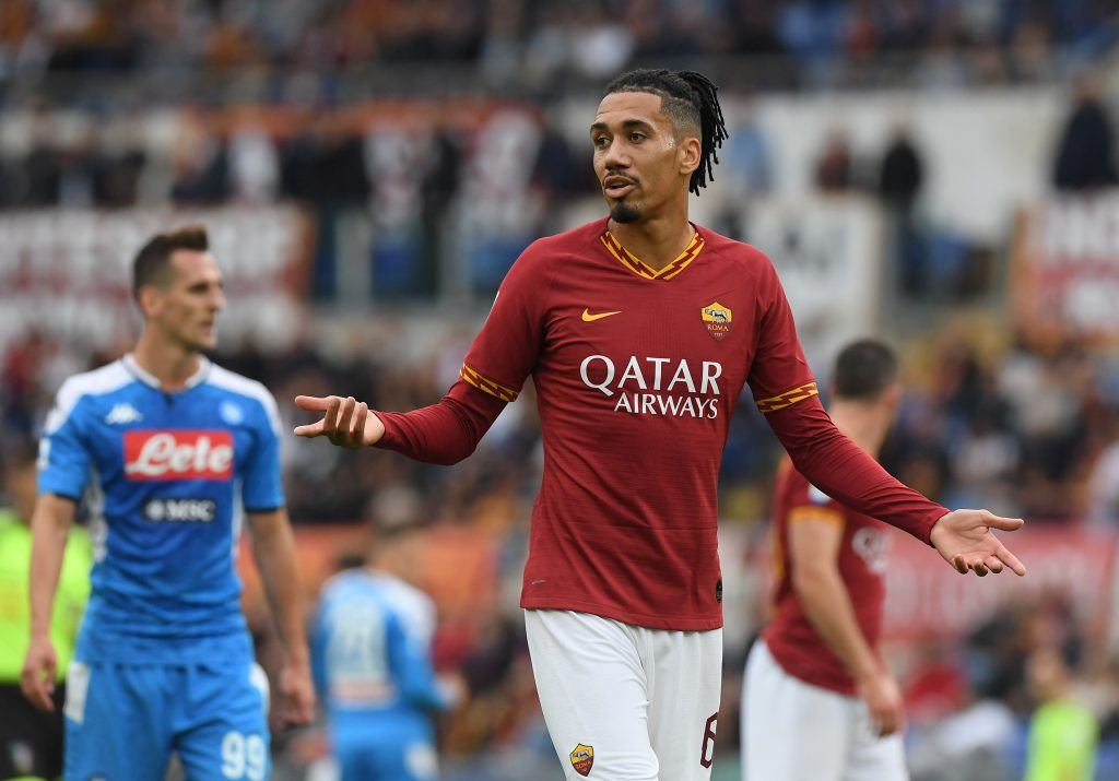 Soccer Football - Serie A - AS Roma v Napoli - Stadio Olimpico, Rome, Italy - November 2, 2019  AS Roma's Chris Smalling looks dejected   REUTERS/Alberto Lingria - RC1615FD4EE0