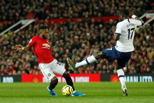 Manchester United's Fred in action with Tottenham Hotspur's Moussa Sissoko.