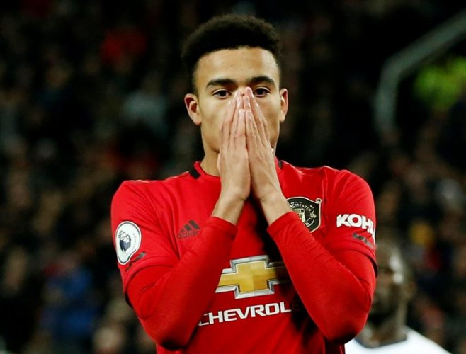 Man Utd's Mason Greenwood looks dejected after a missed chance.