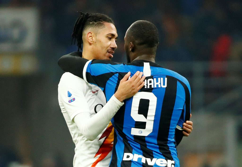 AS Roma's Chris Smalling with Inter Milan's Romelu Lukaku after the match.