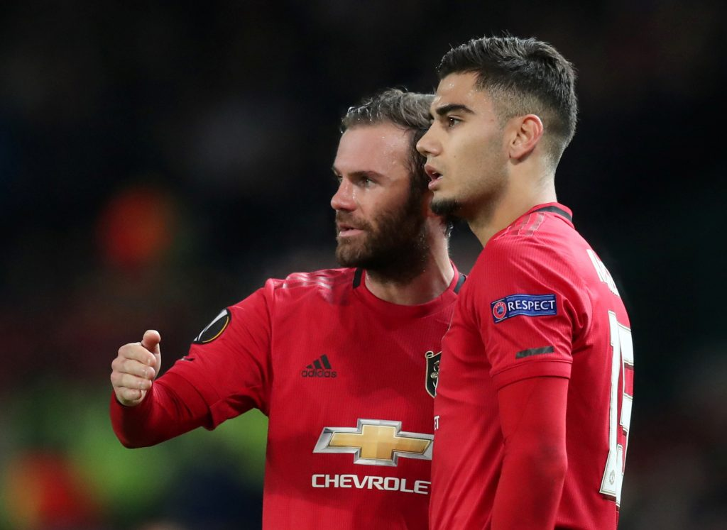 Manchester United's Juan Mata and Andreas Pereira.