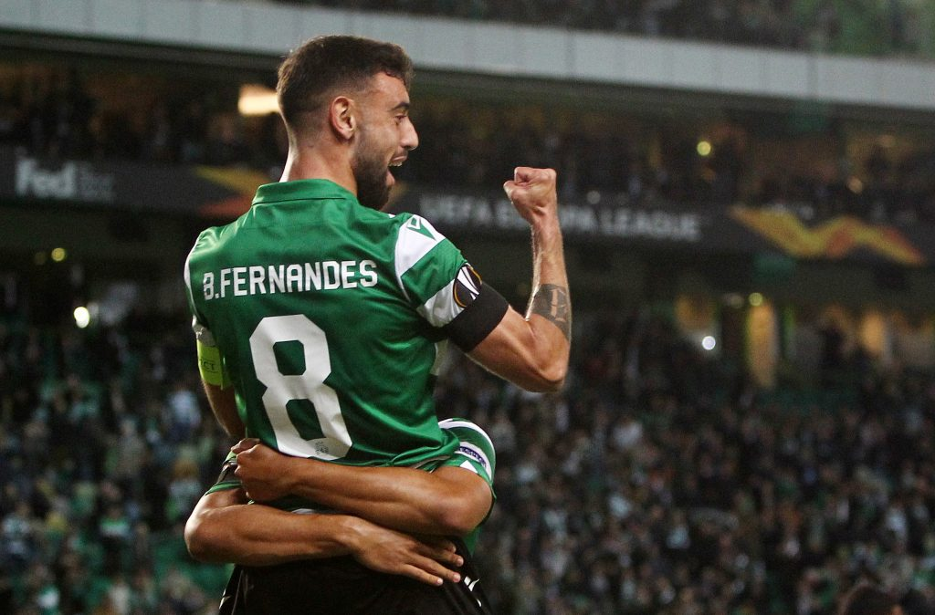 Sporting's Luiz Phellype celebrates scoring their first goal with Bruno Fernandes.