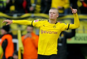 Borussia Dortmund's Erling Braut Haaland celebrates scoring their second goal.
