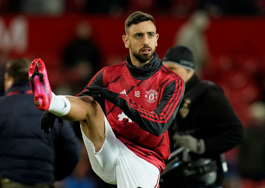 Manchester United's Bruno Fernandes during the warm up before the match.