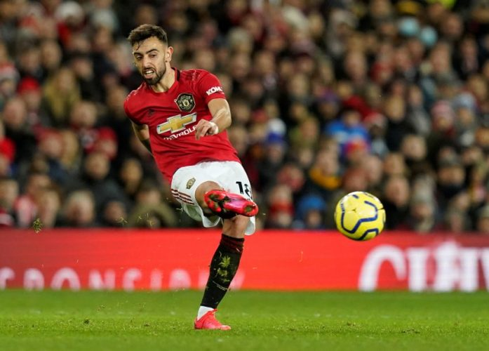 Manchester United's Bruno Fernandes in action.