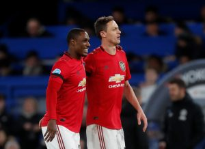 Manchester United's Odion Ighalo and Nemanja Matic celebrate after the match.