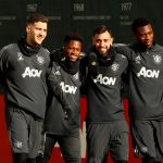 Manchester United's Diogo Dalot, Fred, Bruno Fernandes and Timothy Fosu-Mensah during training.