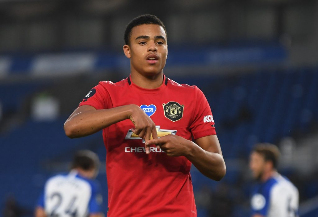 Man United's Mason Greenwood celebrates scoring their first goal.
