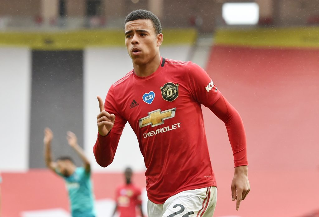 Manchester United's Mason Greenwood celebrates scoring their fourth goal.