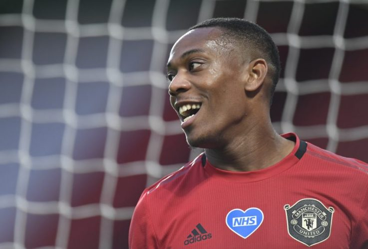 Manchester United's Anthony Martial reacts.
