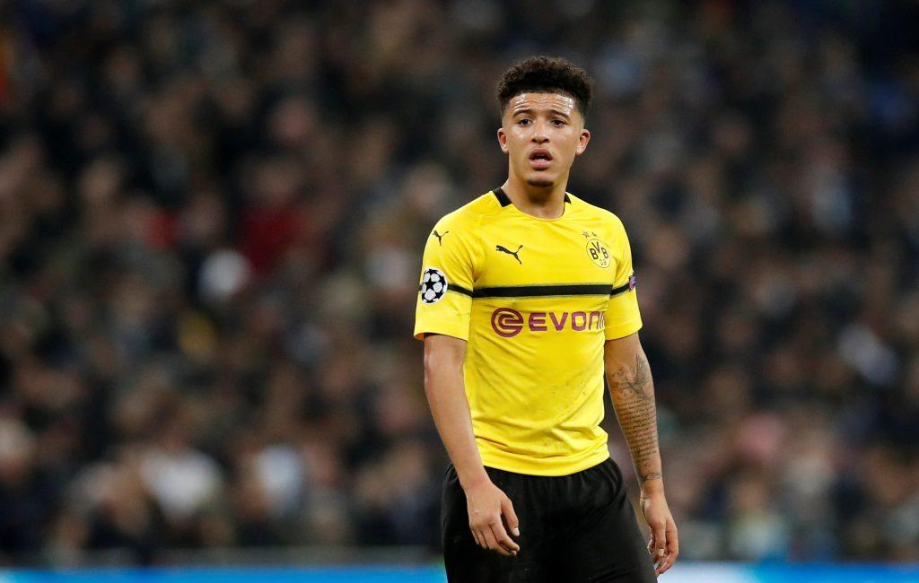 Dortmund's Jadon Sancho looks on.