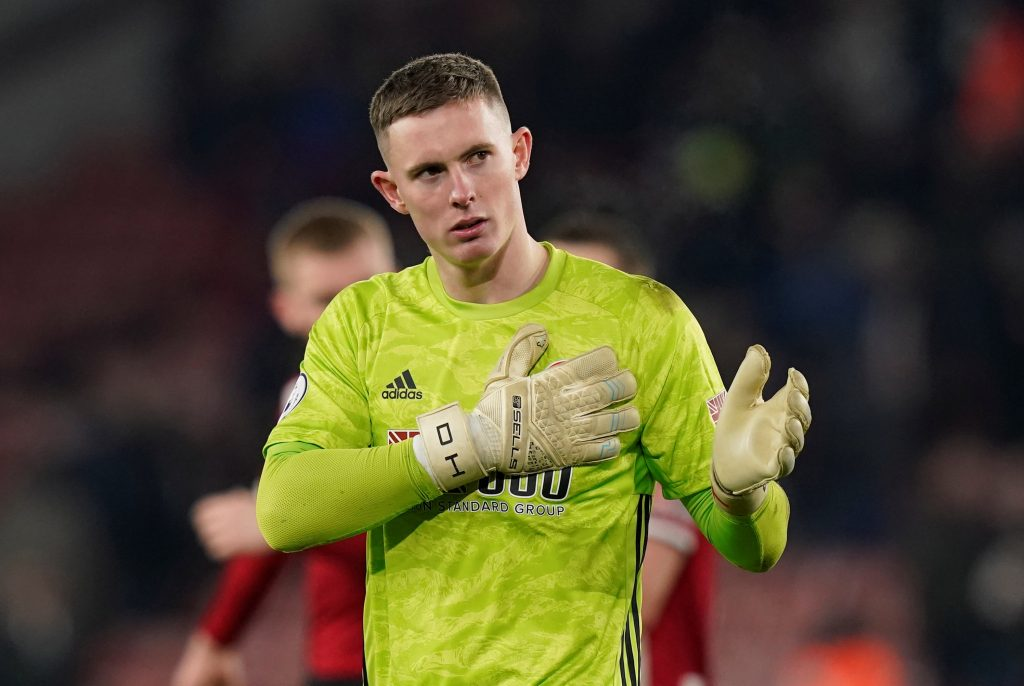 Sheffield United's Dean Henderson acknowledges the fans after the match.