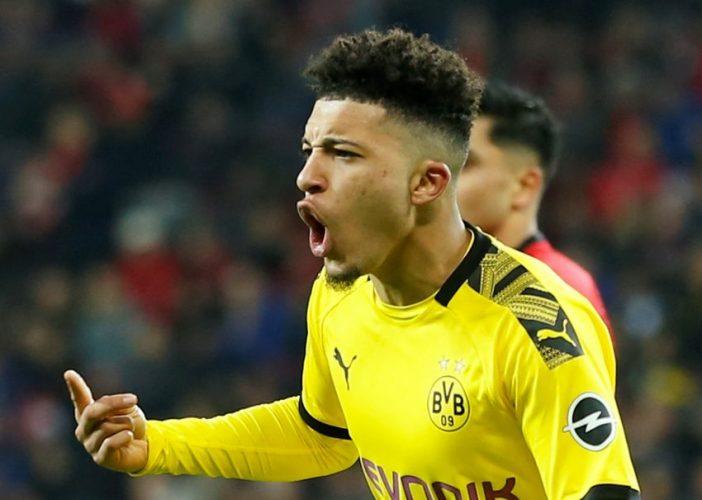 Borussia Dortmund's Jadon Sancho celebrates.