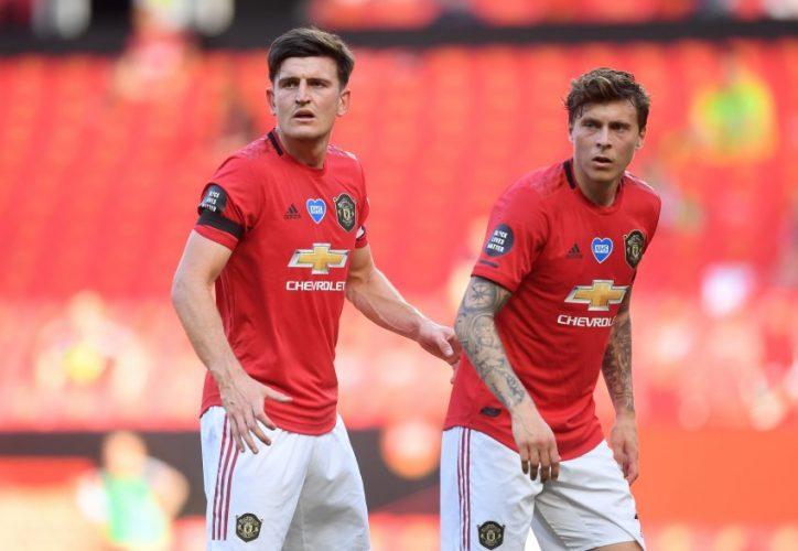 Man Utd's Harry Maguire and Victor Lindelof.