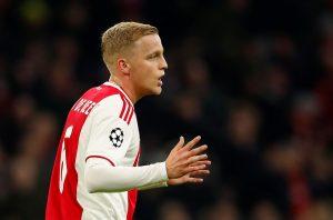 Ajax's Donny van de Beek reacts.