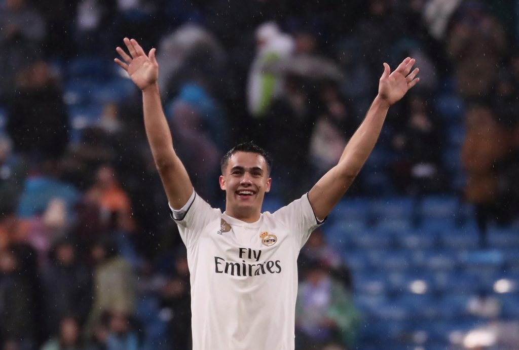 Real Madrid's Sergio Reguilon celebrates after the match.