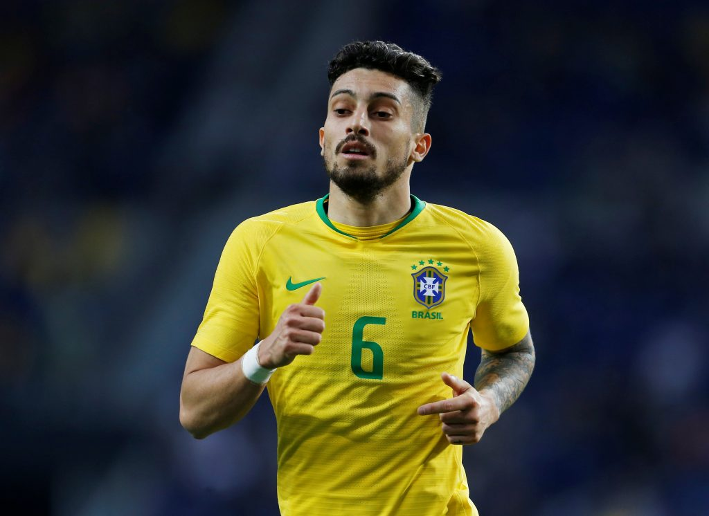 Brazil's Alex Telles during the match.