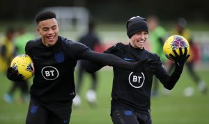 England's Phil Foden and Mason Greenwood during training.