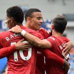 Marcus Rashford celebrates scoring Man Utd's second goal with Bruno Fernandes and Mason Greenwood.