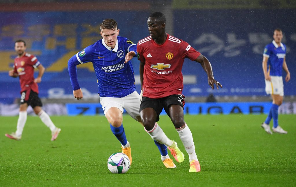 Manchester United's Eric Bailly in action with Brighton.