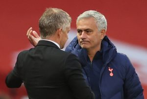 Ole Gunnar Solskjaer with Jose Mourinho after the match.