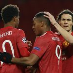 Man Utd forward Anthony Martial celebrates with Marcus Rashford and Edinson Cavani.