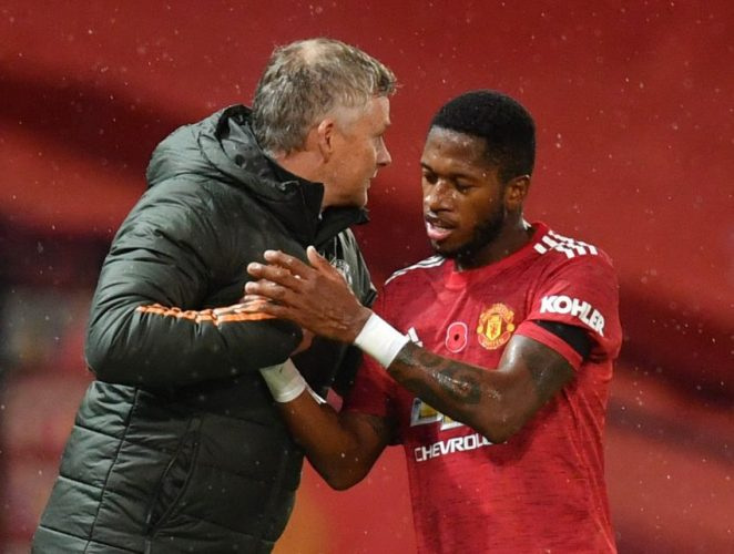 Manchester United's Fred with manager Ole Gunnar Solskjaer.