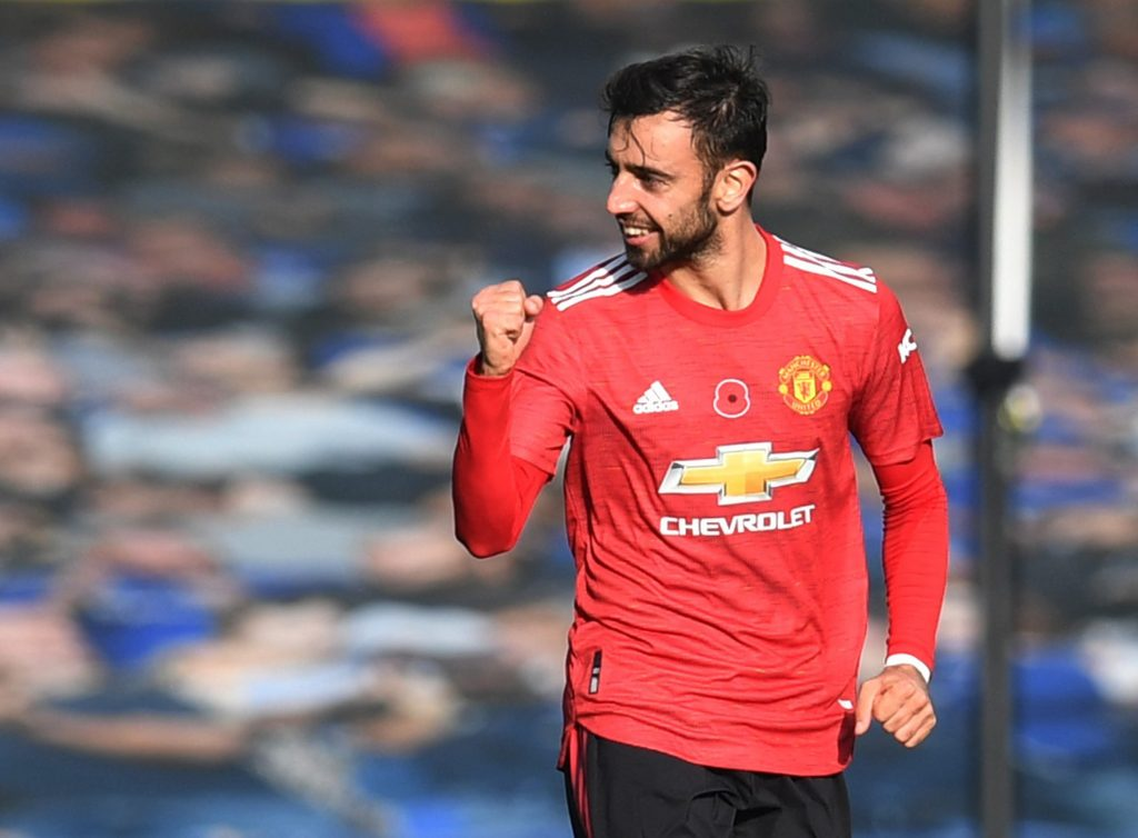 Manchester United's Bruno Fernandes celebrates scoring their first goal.