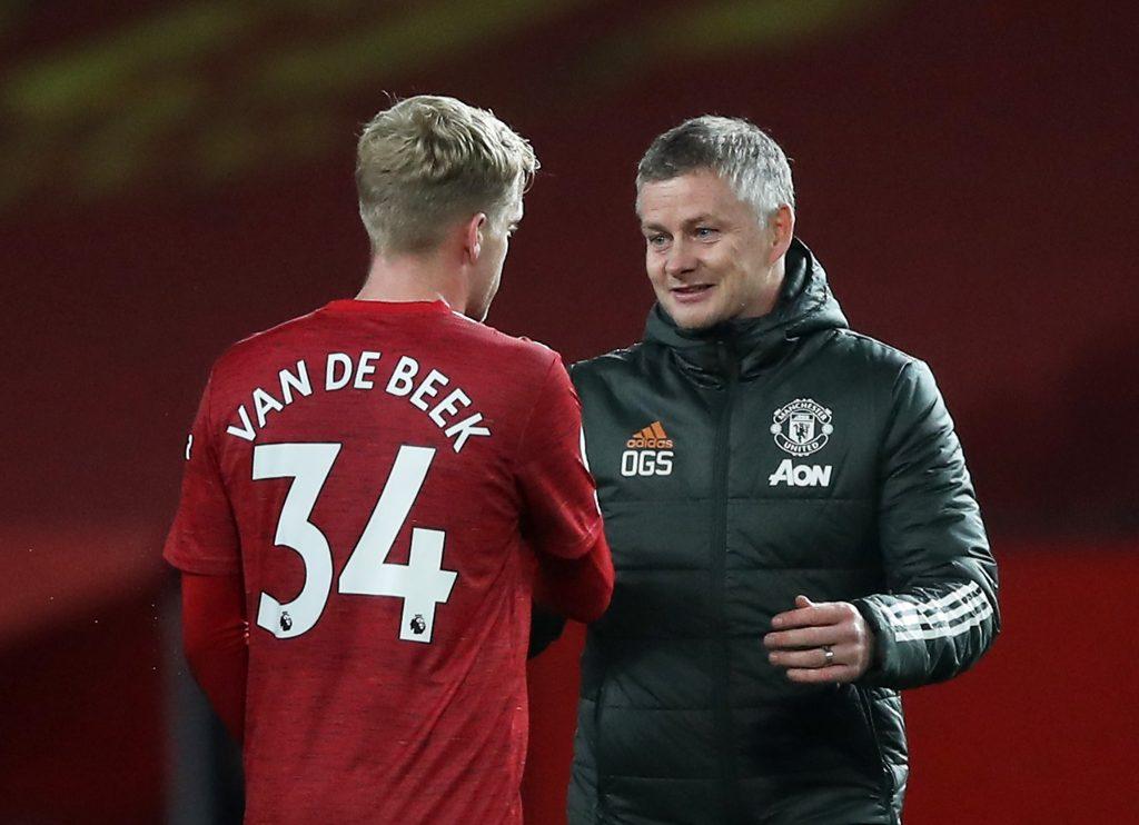 Man Utd manager Ole Gunnar Solskjaer and Donny van de Beek celebrate at the end of the match.