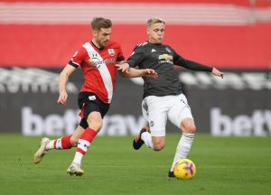 Donny van de Beek in action with Southampton's Stuart Armstrong.