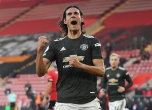 Manchester United's Edinson Cavani celebrates scoring their second goal.