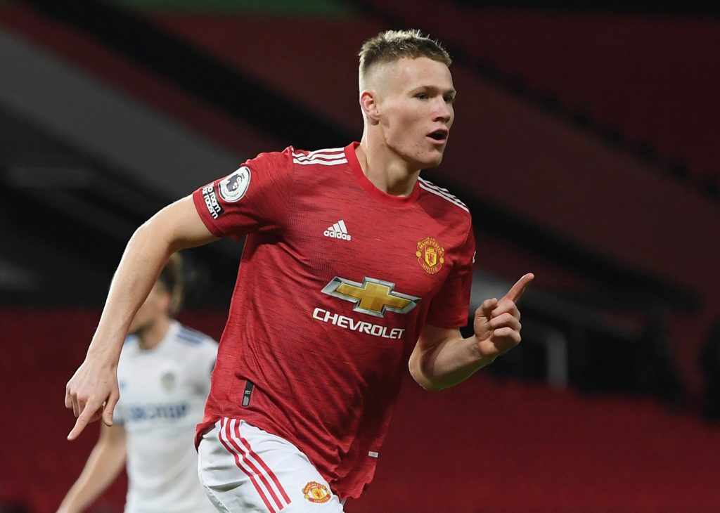 Manchester United's Scott McTominay celebrates scoring their second goal.