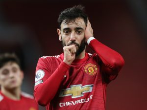 Manchester United's Bruno Fernandes celebrates scoring their third goal.