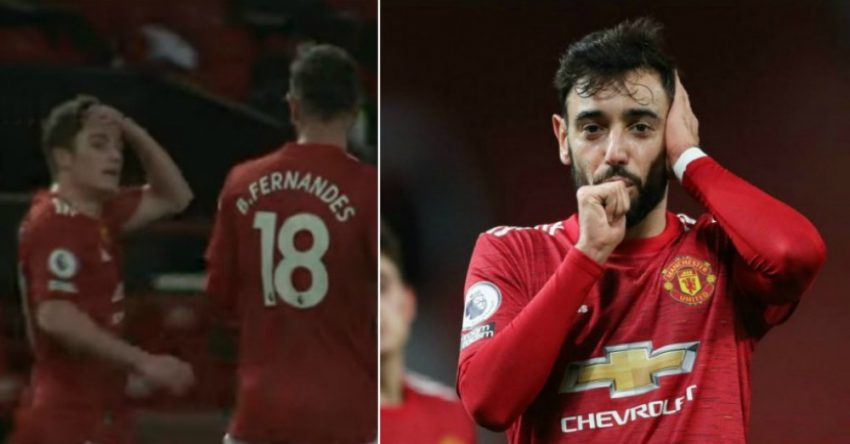 What happened between Fernandes and Daniel James after the third goal against Leeds