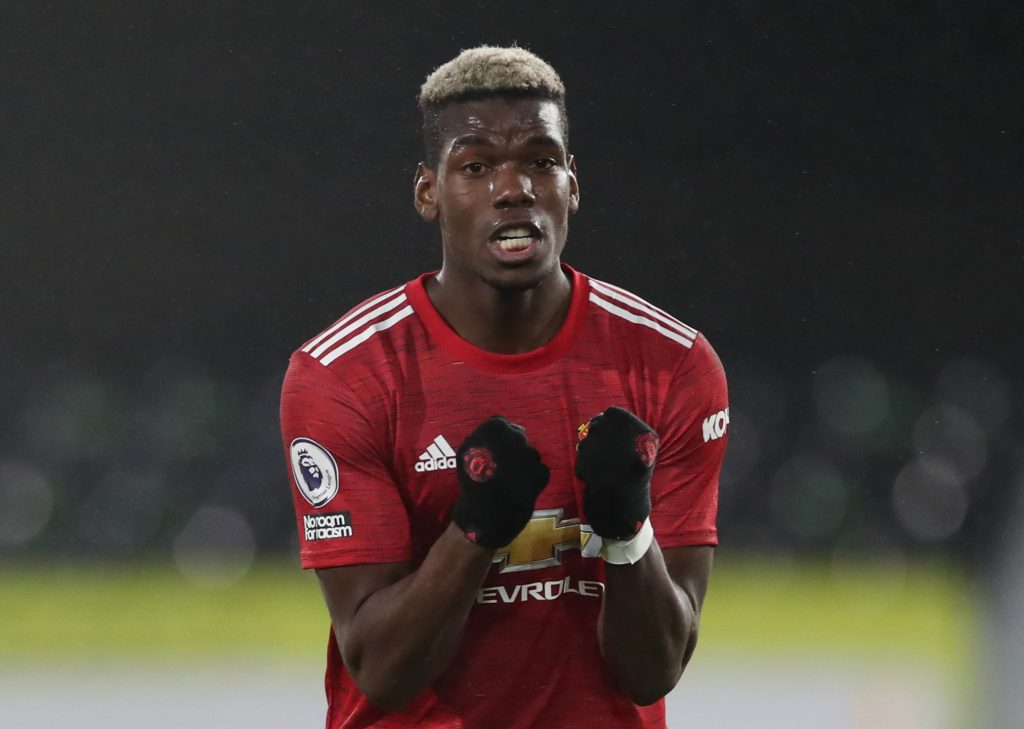 Manchester United's Paul Pogba celebrates after the match.