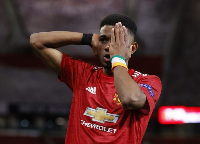 Manchester United's Amad Diallo celebrates scoring their first goal.