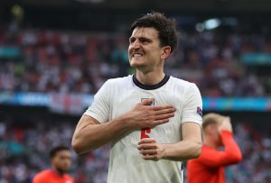 Harry Maguire celebrates after the match.