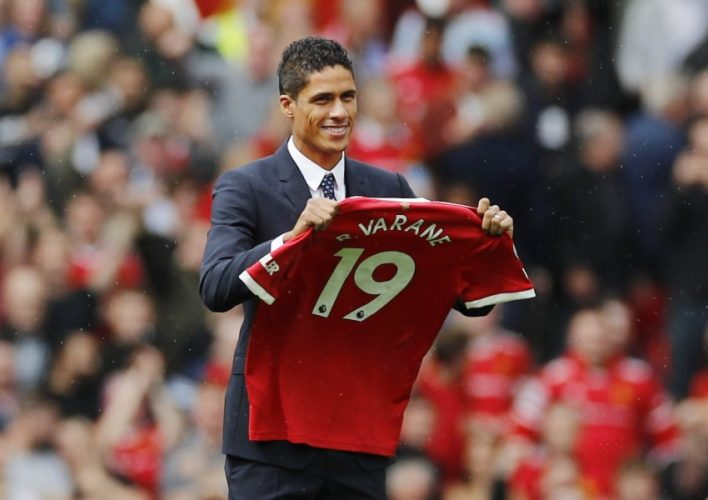 Manchester United's Raphael Varane is presented to fans before the match.