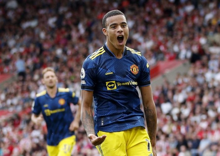 Manchester United's Mason Greenwood celebrates scoring their first goal against Southampton.