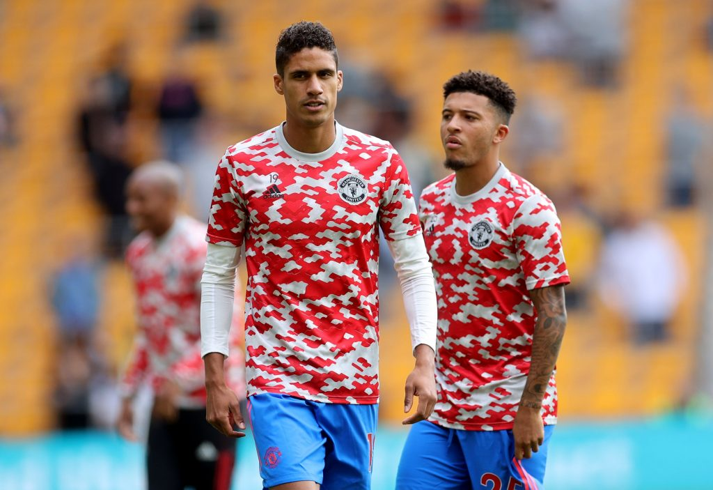 Manchester United's Raphael Varane and Jadon Sancho during the warm up before the match.