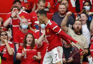 Manchester United's Cristiano Ronaldo celebrates scoring their first goal.