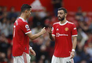 Manchester United's Cristiano Ronaldo and Bruno Fernandes against Aston Villa.