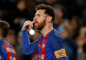 Barcelona's Lionel Messi gestures after scoring a goal.